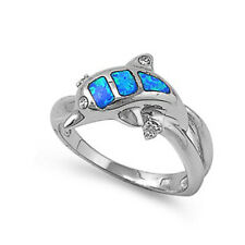 Women 11mm 925 Sterling Silver Blue Opal Dolphin Ladies Vintage Style Ring Band