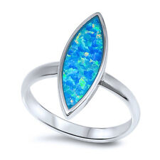 Women 20mm 925 Silver Marquise Blue Opal Modern Ladies Vintage Style Ring Band