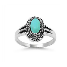 Women 14mm 925 Sterling Silver Oval Simulated Turquoise Vintage Style Ring Band
