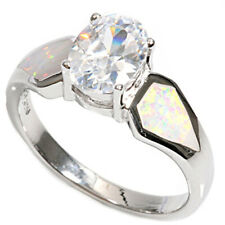 Women 9mm 925 Silver White Opal Oval CZ Solitaire Ladies Vintage Style Ring Band