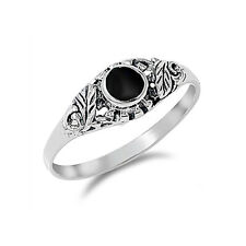Men Women 7mm Sterling Silver Round Black Onyx Promise Vintage Style Ring Band