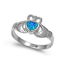 Women 10mm 925 Sterling Silver Blue Opal Claddagh Vintage Style Ring Band