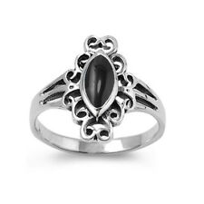 Women 17mm 925 Silver Marquise Black Onyx Vintage Ladies Vintage Style Ring Band
