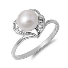 Women 11mm 925 Silver Freshwater Pearl Heart Ladies Vintage Style Ring Band