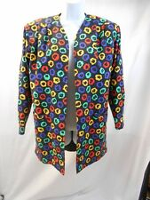 Nina Ricci Vintage Jacket Abstract Flower Print Multicolor Size 10