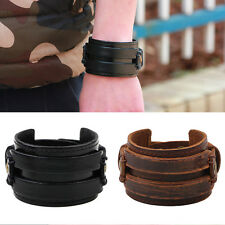 Retro Unisex Tribe Metal Buckle Wide Band Faux Leather Layers Wristband Bracelet