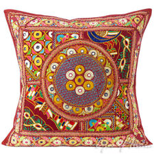 "24"" Burgundy Red Patchwork Decorative Couch Pillow Cushion Throw Cover Bohemian"