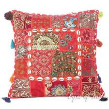"16"" Red Patchwork Decorative Throw Pillow Cover Cushion Indian Bohemian Boho"