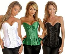 Sexy Strapless Pleated Burlesque Corset Top Satin UK S M L XL 2X