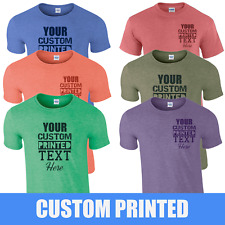 Personalised Custom Printed T-Shirts, Your Own Text or Plain Heather T-Shirts