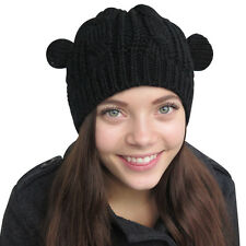Evelots® Knitted Form Fitting Winter Hat W/ Cat Ears Comfortable,Assorted Colors