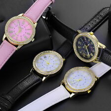 Womens Fashion Bling Crystal Faux Leather Strap Analog Quartz Wrist Watch ZX