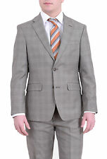 Tommy Hilfiger Mens Regular Fit Taupe Brown Plaid Two Button Wool Suit