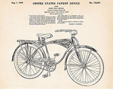1939 Classic Vintage Schwinn Bikes Bicycle Patent Poster Art Print Cycling Gifts