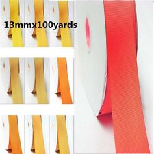 "Wholesale 100 Yards / Roll/Spool Grosgrain Ribbon 1/2"" /13mm Yellow-Orange"