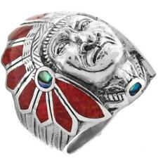 MENS INDIAN CHIEF MOTORCYCLE BIKER RED CORAL 925 STERLING SILVER SZ 9 ring