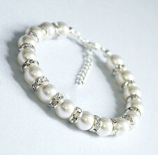 Wedding Bracelet White Glass Pearl With Diamante Bead Bridesmaid Premium Quality