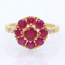 Red Ruby White 18K Gold Plated Ring Women Jewelry Size 6:7
