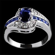 Fashion Women Ring Blue Sapphire White Gold Filled Engagement Jewelry Size 7 8 9