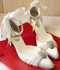 New Womens satin crystal lace Wedding shoes flats low heel pumps Bridal shoes US