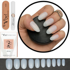 50-600x STICK ON - OVAL False Nails FULL COVER Natural Opaque - FREE GLUE