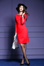 Sexy Women's Long Sleeve OL Casual Slim Cocktail Party Evening Short Mini Dress