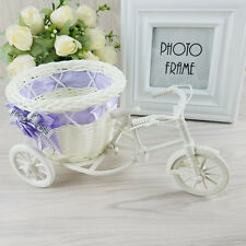 Rattan Tricycle Bike Basket Wedding Party Office Bedroom Vase Decoration