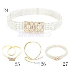 Fashion Women Crystal Rhinestone Pearl Belt Chain Belt Hip Waist Dress Belt