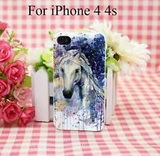 Watercolor Horse Head Hard White Cover Case for iPhone