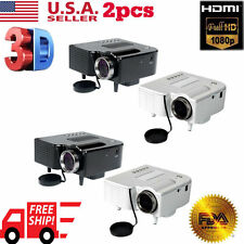 LOT 2 HOT LED Projector Home Theater USB TV 3D HD 1080P Business VGA/HDMI USA SW