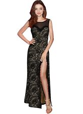 Sexy Black Lace Halter Sleeveless Long  Dress For Nightclub& Evening Party CD008