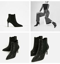 ZARA SHINY HIGH HEEL ANKLE BOOTS EUR 37/39 US 6.5/8 REF. 7130/101 NWT!!