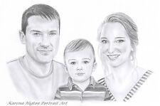 A3 PENCIL SKETCH PORTRAIT Child Family Pet Custom Drawing from Photo by Karena