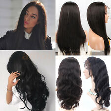 Brazilian Human Hair Full Lace Wigs 100% Real Hair Front Lace Wig 1B Black