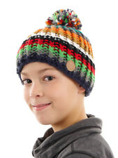 Barts Beanie Winter Hat With Bobble red Pattern Fleece lined warm
