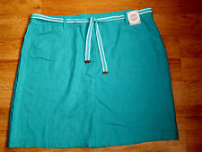 "BNWT Ladies Plus Size Green Summer Skirt Size 18 , 20 Length 20"" Linen Mix"