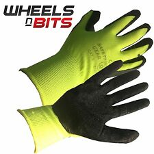 SIze 10 X large LATEX COATED HI-VIS RUBBER WORK GLOVES BUILDER GARDENING SAFETY