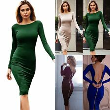 Sexy Women Bandage Bodycon Long Sleeve Back Zipper Dress Evening Cocktail Party
