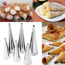 3Pcs S/L Cream Horn Molds Set Filled Dessert Pastry Cone Metal Forms Pastry Tool