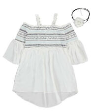 """Beautees Big Girls' """"Shirred Flounce"""" Top with Necklace (Sizes 7 - 16)"""