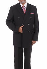 Steven Land Black Tonal Striped Double Breasted Super 150's Wool Suit