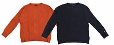 Tommy Hilfiger Women Cotton Blend Crew Neck Cable Knit Sweater, NAVY, ORANGE