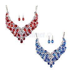 Women Fashion Jewelry Set Crystal Prom Statement Drop Necklace Earrings 2 Colors