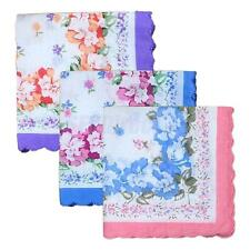 12pcs Womens Wavy Trimed Cotton Floral Handkerchief Wendding Party Square Hanky
