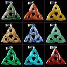 Wholesale Mixed Carved Chinese Knot Gemstone Pendant Bead 37x36x6mm W-ZGJ