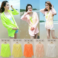 Candy Color Ladies Women Long Sleeve Cardigan Sunscreen Outwear Shirts Jacket