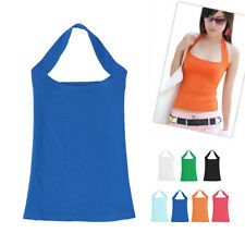 Women Ladies Sexy Boob Tube Halter Neck Low Cut Top Vest Tank Backless Shirt
