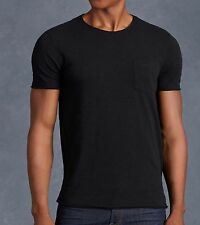 John Varvatos Star USA Men's Short Sleeve Raw Edge Crew Tee Black $78 msrp NWT