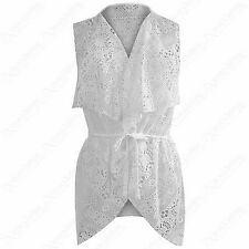 LADIES WATERFALL CROCHET LACE SLEEVELESS BELTED JACKET WOMENS WAISTCOAT LOOK TOP