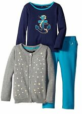 NAUTICA Girls 12M 24M 4T Gray Blue NEW Toddler Shirt Pants Cardigan 3Pc Outfit